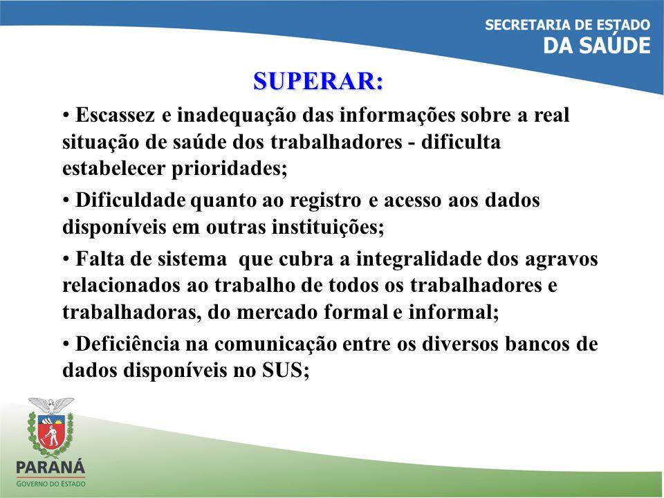 SUPERAR: Escassez e inadequação das informações sobre a real situação de saúde dos trabalhadores - dificulta estabelecer prioridades;