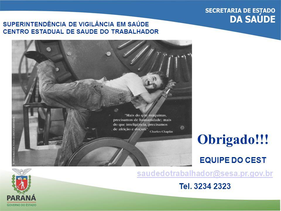 Obrigado!!! EQUIPE DO CEST saudedotrabalhador@sesa.pr.gov.br