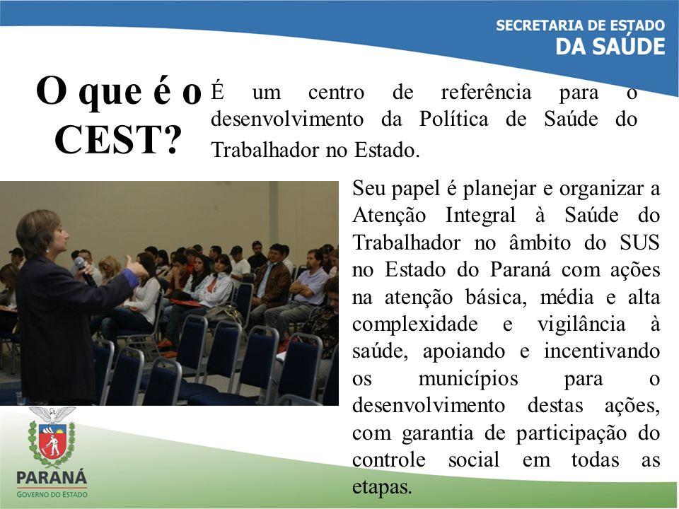 O que é o CEST É um centro de referência para o desenvolvimento da Política de Saúde do Trabalhador no Estado.