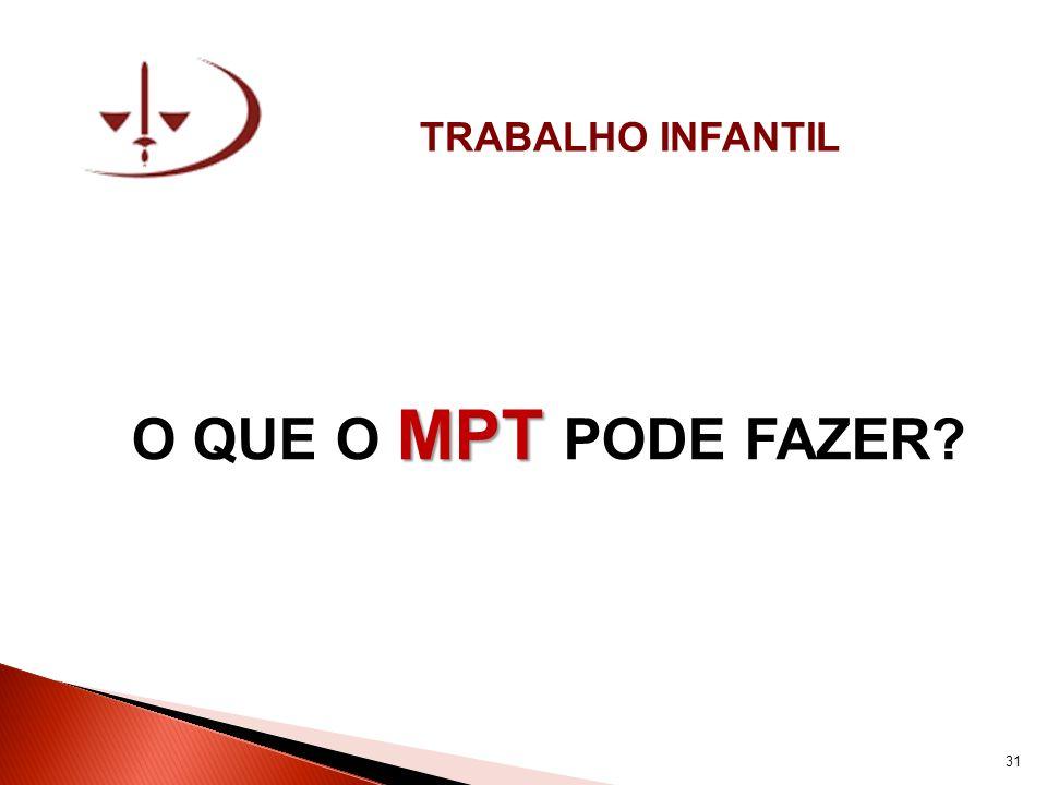 TRABALHO INFANTIL O QUE O MPT PODE FAZER 31