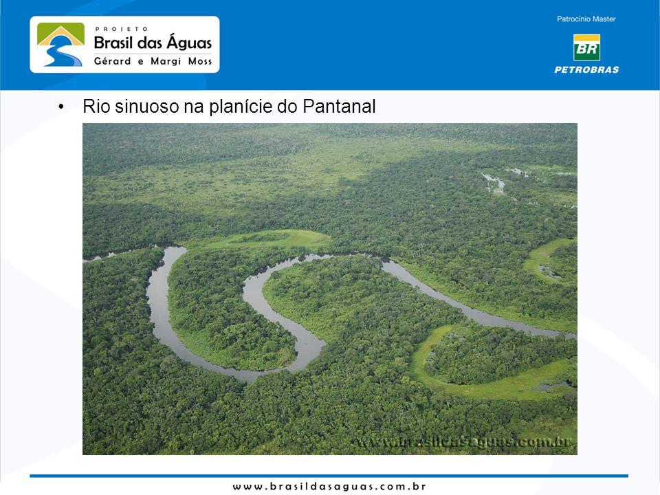 Rio sinuoso na planície do Pantanal