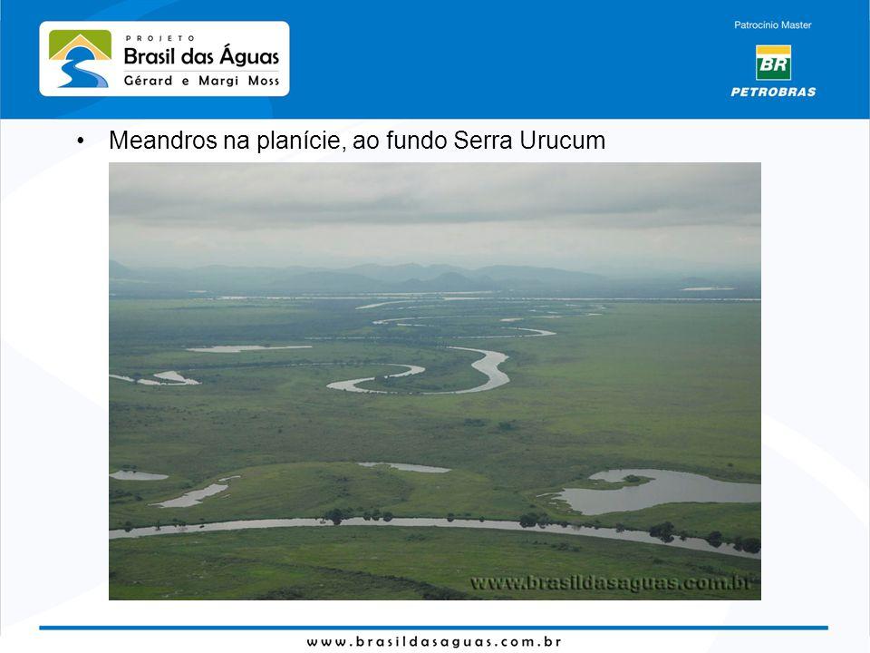 Meandros na planície, ao fundo Serra Urucum