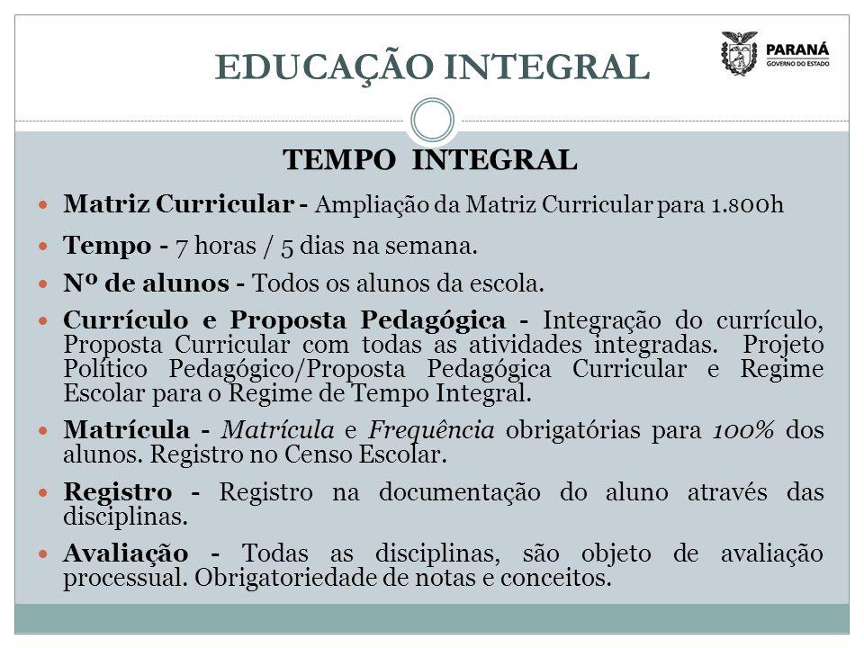 EDUCAÇÃO INTEGRAL TEMPO INTEGRAL