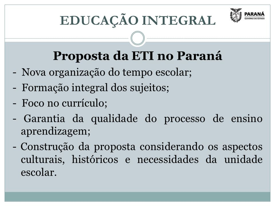 Proposta da ETI no Paraná