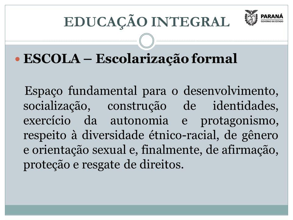 EDUCAÇÃO INTEGRAL ESCOLA – Escolarização formal