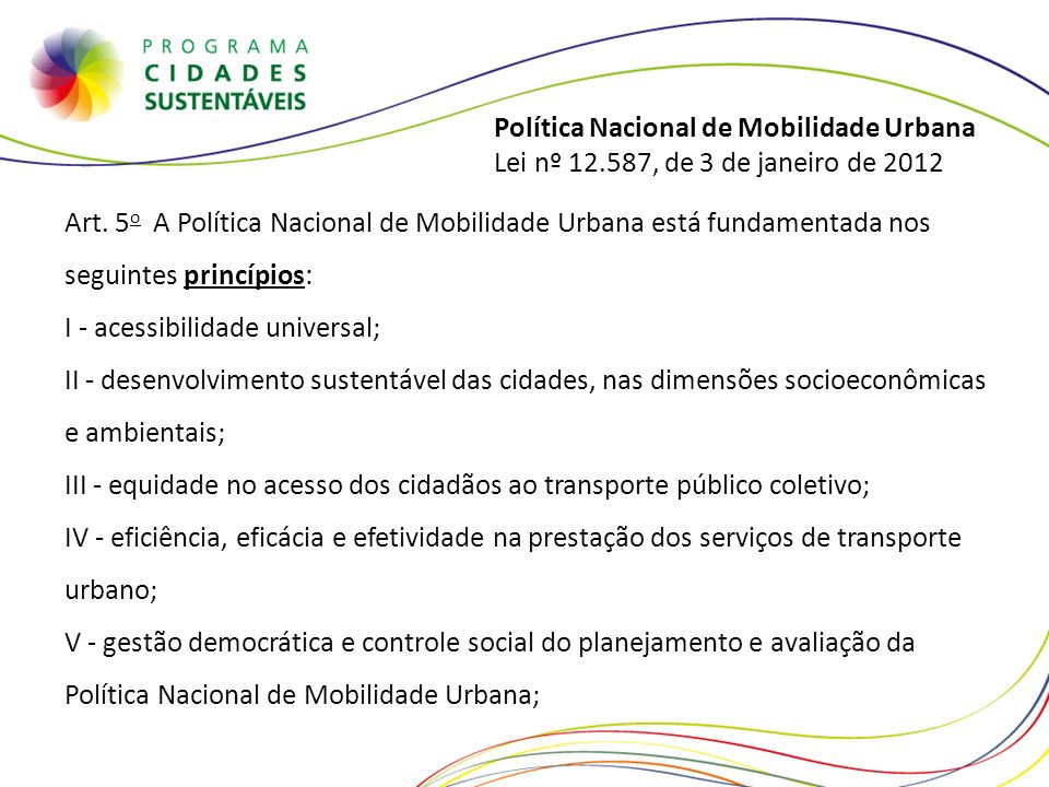 Política Nacional de Mobilidade Urbana Lei nº 12