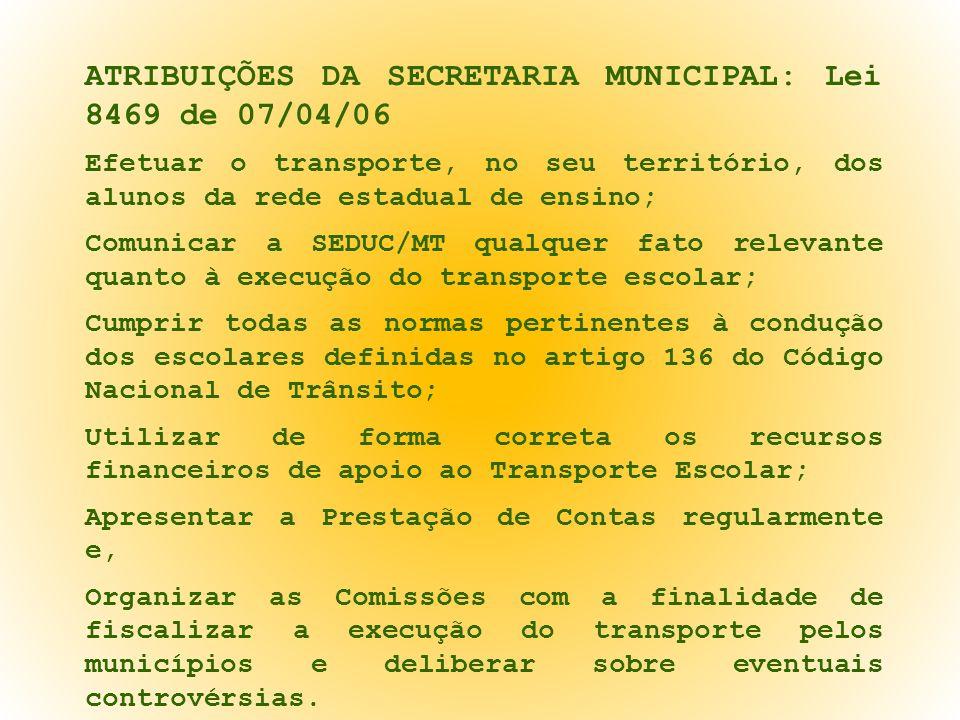 ATRIBUIÇÕES DA SECRETARIA MUNICIPAL: Lei 8469 de 07/04/06