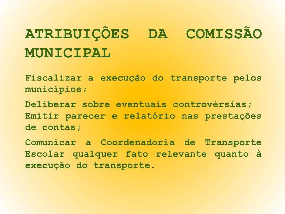 ATRIBUIÇÕES DA COMISSÃO MUNICIPAL