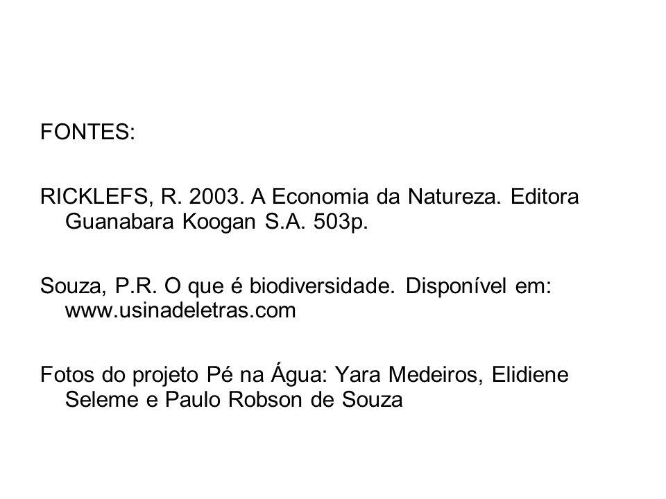 FONTES: RICKLEFS, R. 2003. A Economia da Natureza. Editora Guanabara Koogan S.A. 503p.