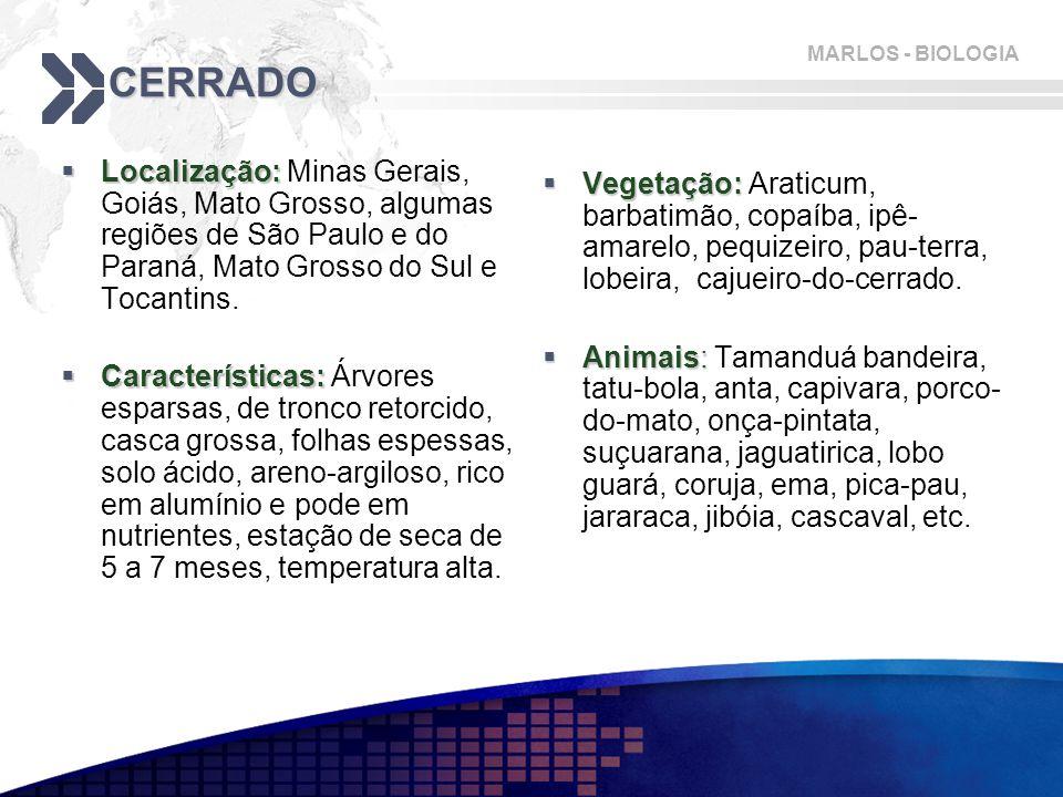 CERRADO Localização: Minas Gerais, Goiás, Mato Grosso, algumas regiões de São Paulo e do Paraná, Mato Grosso do Sul e Tocantins.
