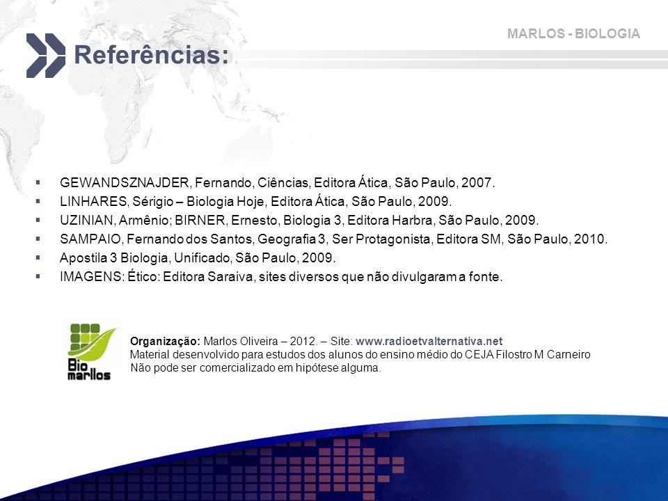 Referências: GEWANDSZNAJDER, Fernando, Ciências, Editora Ática, São Paulo, 2007. LINHARES, Sérigio – Biologia Hoje, Editora Ática, São Paulo, 2009.