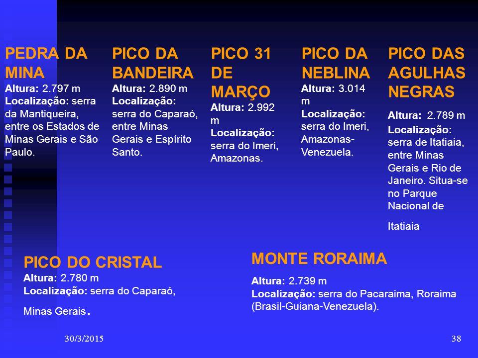 PEDRA DA MINA Altura: 2.797 m Localização: serra da Mantiqueira, entre os Estados de Minas Gerais e São Paulo.