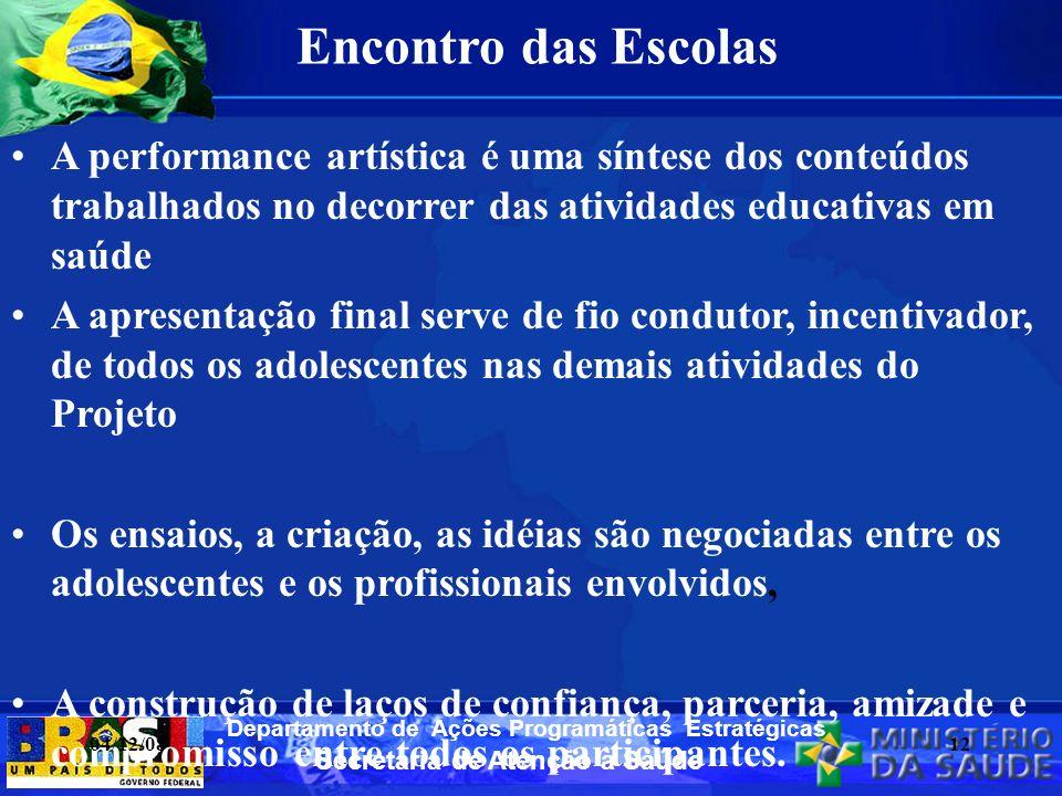 Encontro das Escolas A performance artística é uma síntese dos conteúdos trabalhados no decorrer das atividades educativas em saúde.