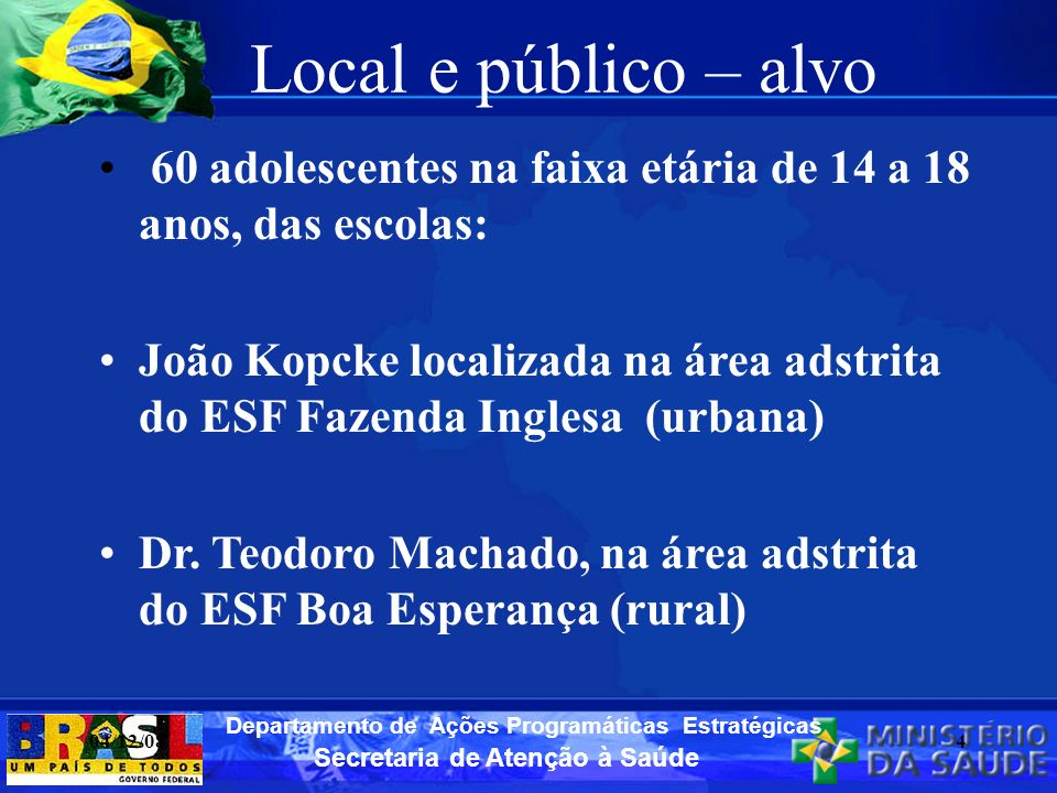 Local e público – alvo 60 adolescentes na faixa etária de 14 a 18 anos, das escolas: