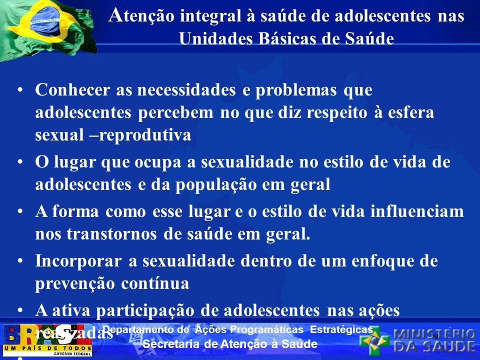 Atenção integral à saúde de adolescentes nas Unidades Básicas de Saúde