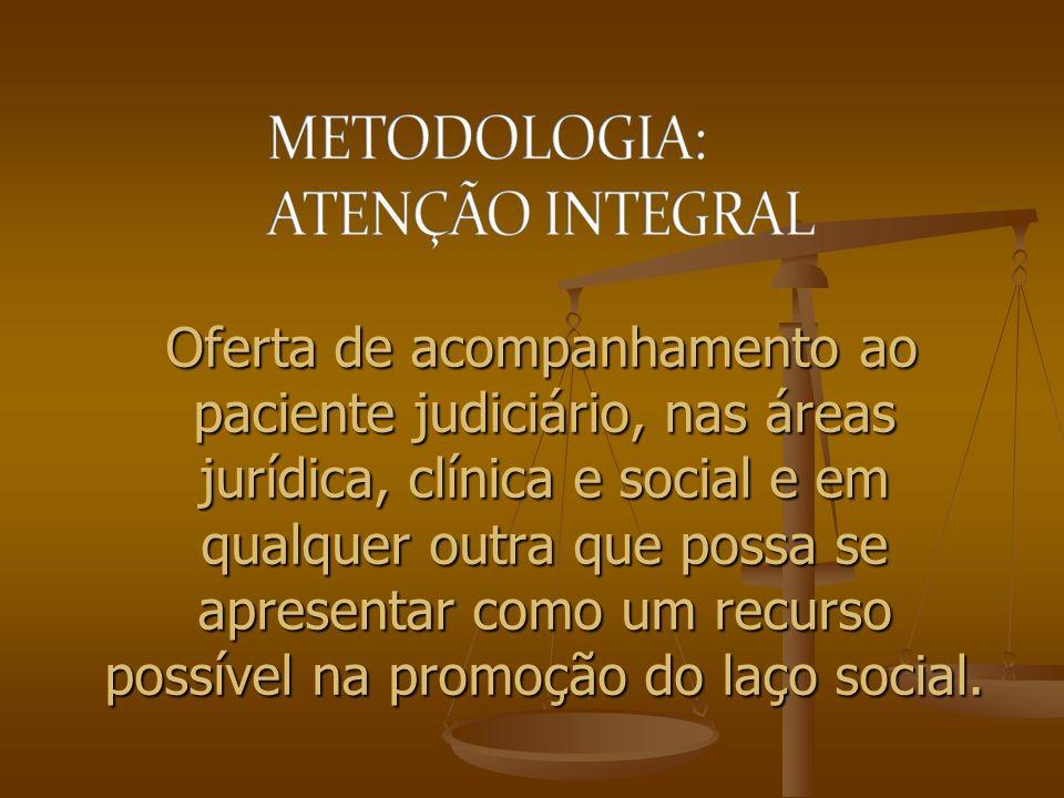 Oferta de acompanhamento ao paciente judiciário, nas áreas jurídica, clínica e social e em qualquer outra que possa se apresentar como um recurso possível na promoção do laço social.