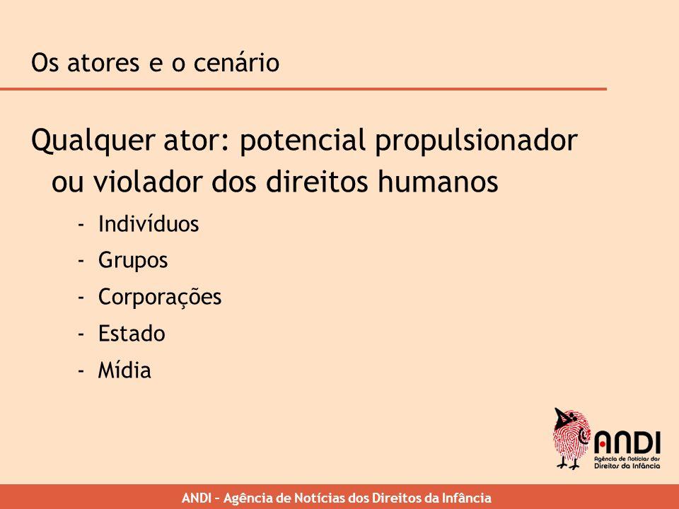 Os atores e o cenário Qualquer ator: potencial propulsionador ou violador dos direitos humanos. Indivíduos.