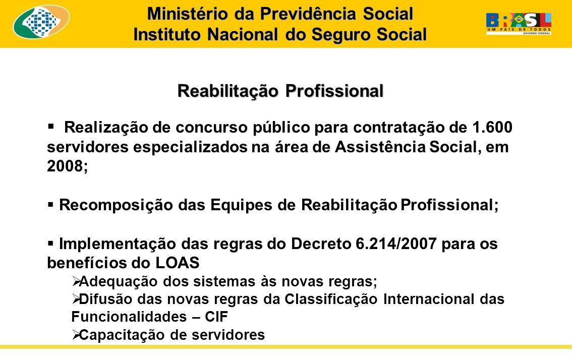 Ministério da Previdência Social Instituto Nacional do Seguro Social Reabilitação Profissional