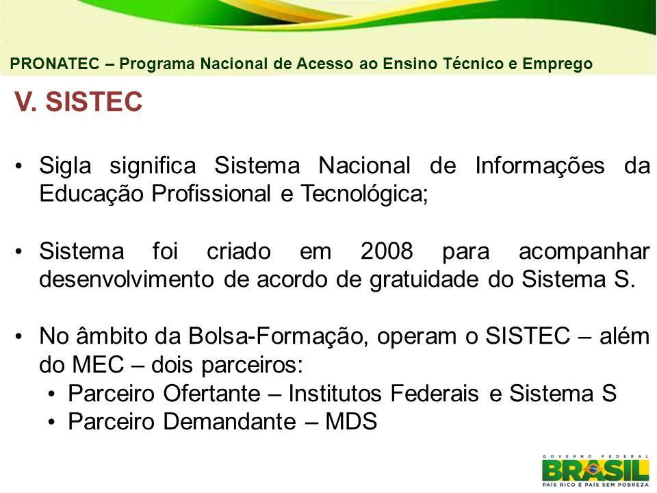 04/03/11 PRONATEC – Programa Nacional de Acesso ao Ensino Técnico e Emprego. V. SISTEC.