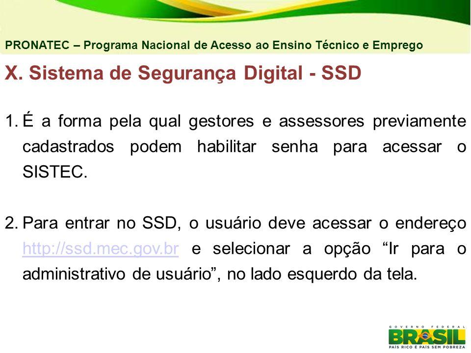 X. Sistema de Segurança Digital - SSD