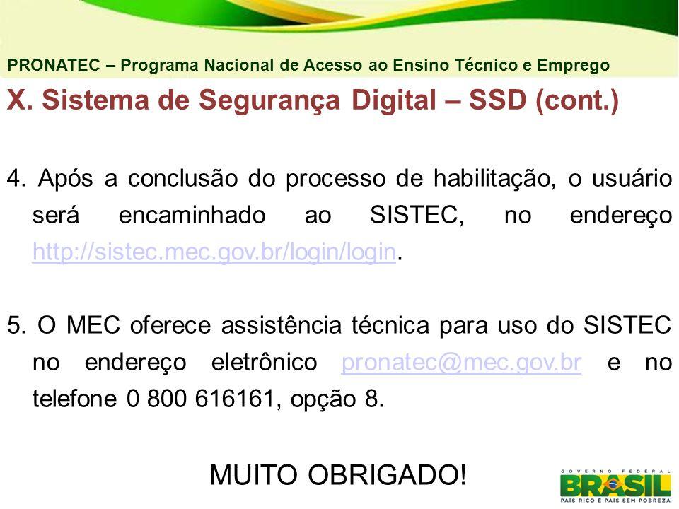 X. Sistema de Segurança Digital – SSD (cont.)