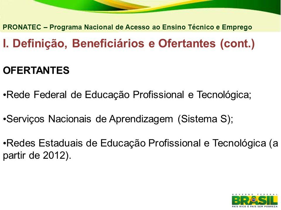 I. Definição, Beneficiários e Ofertantes (cont.)