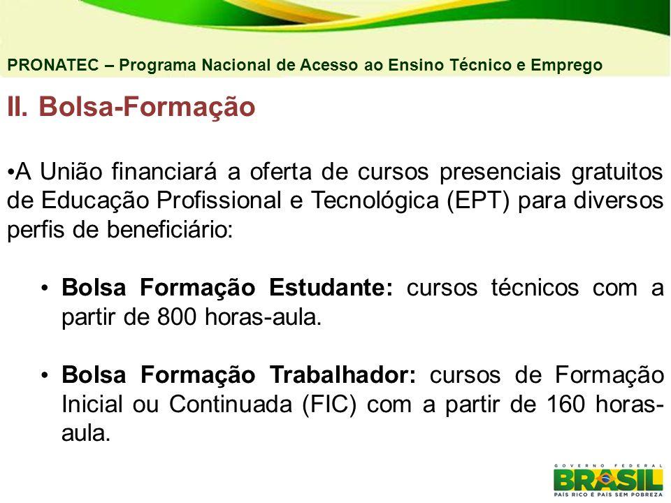 04/03/11 PRONATEC – Programa Nacional de Acesso ao Ensino Técnico e Emprego. II. Bolsa-Formação.