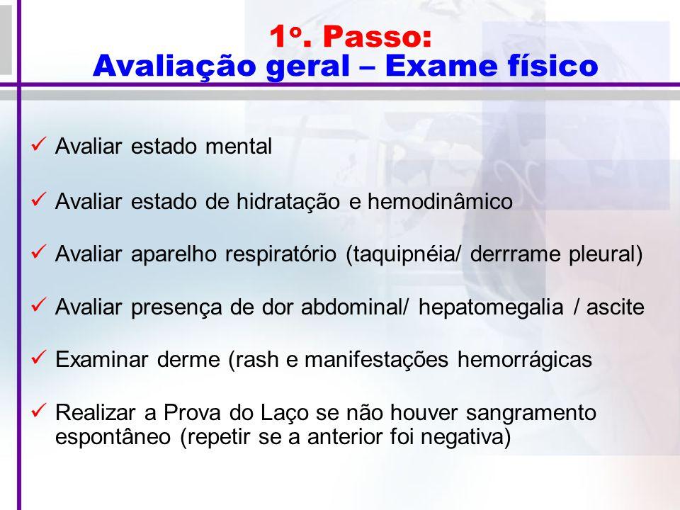 1o. Passo: Avaliação geral – Exame físico