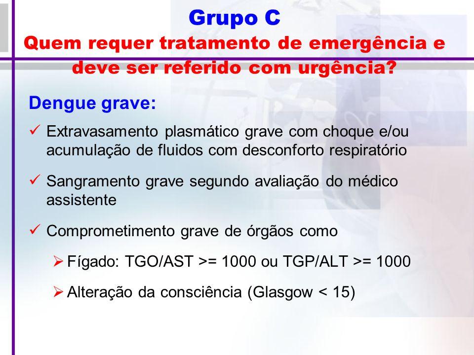Grupo C Quem requer tratamento de emergência e deve ser referido com urgência