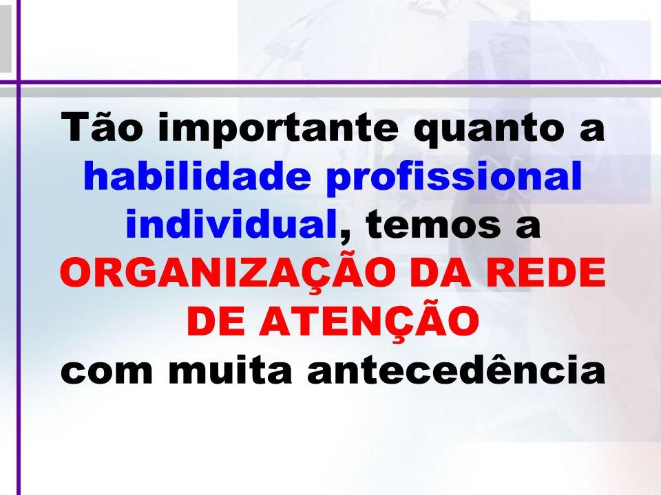 Tão importante quanto a habilidade profissional individual, temos a ORGANIZAÇÃO DA REDE DE ATENÇÃO com muita antecedência