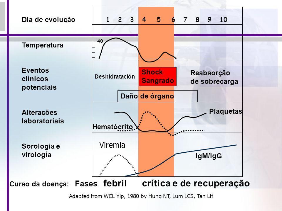 Viremia Dia de evolução Temperatura Eventos clínicos potenciais
