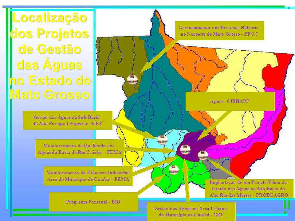 Localização dos Projetos de Gestão das Águas no Estado de
