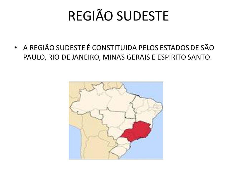 REGIÃO SUDESTE A REGIÃO SUDESTE É CONSTITUIDA PELOS ESTADOS DE SÃO PAULO, RIO DE JANEIRO, MINAS GERAIS E ESPIRITO SANTO.
