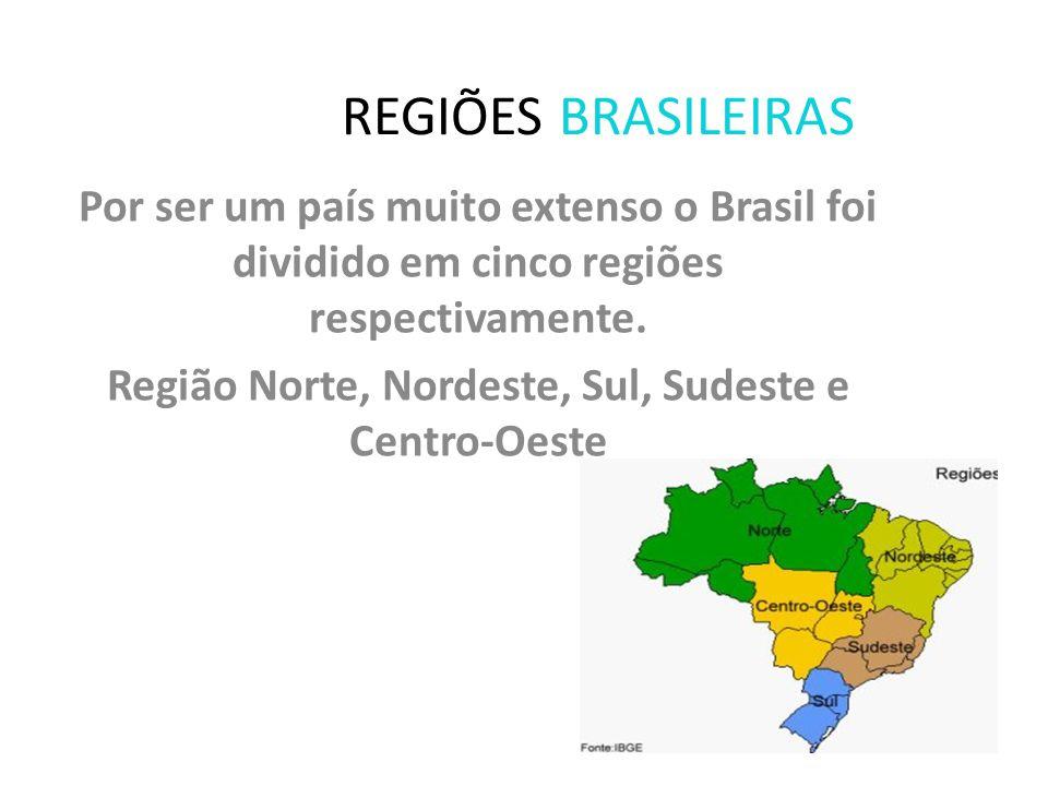 Região Norte, Nordeste, Sul, Sudeste e Centro-Oeste