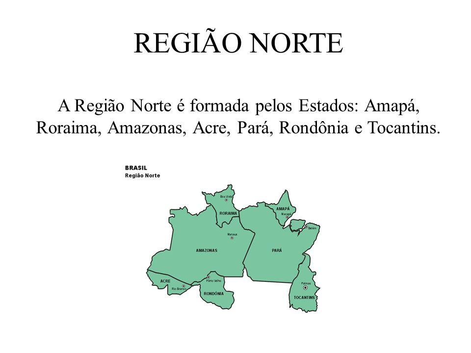 REGIÃO NORTE A Região Norte é formada pelos Estados: Amapá, Roraima, Amazonas, Acre, Pará, Rondônia e Tocantins.