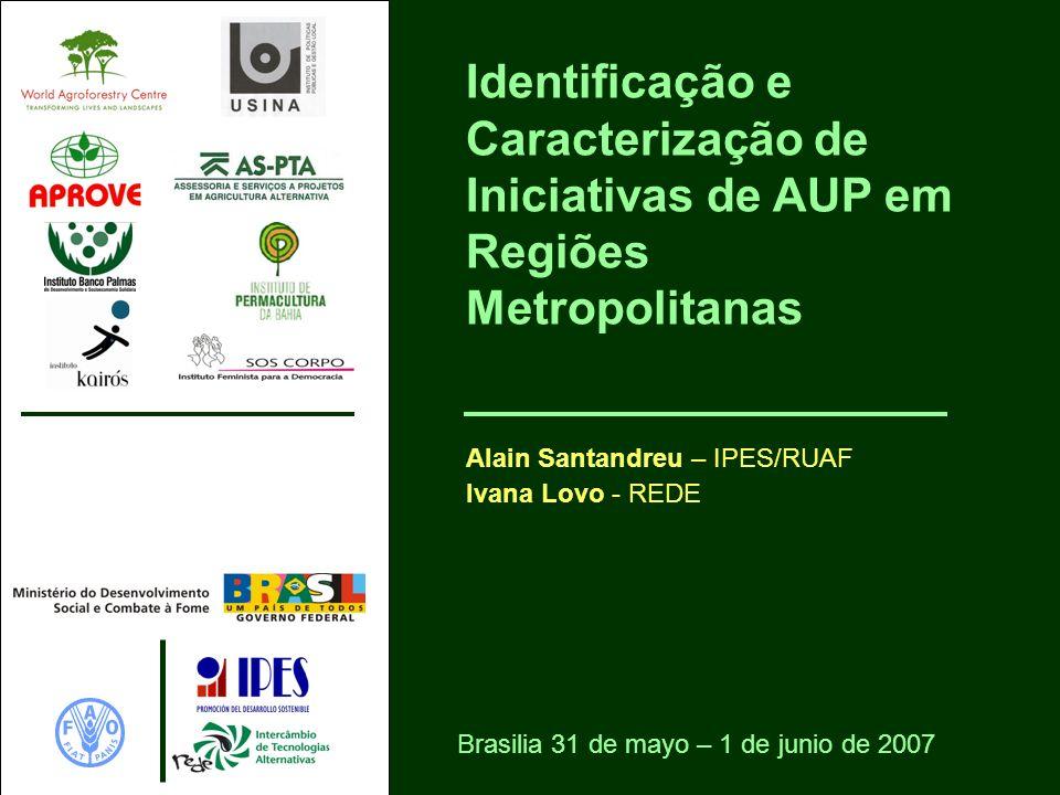 Identificação e Caracterização de Iniciativas de AUP em Regiões Metropolitanas