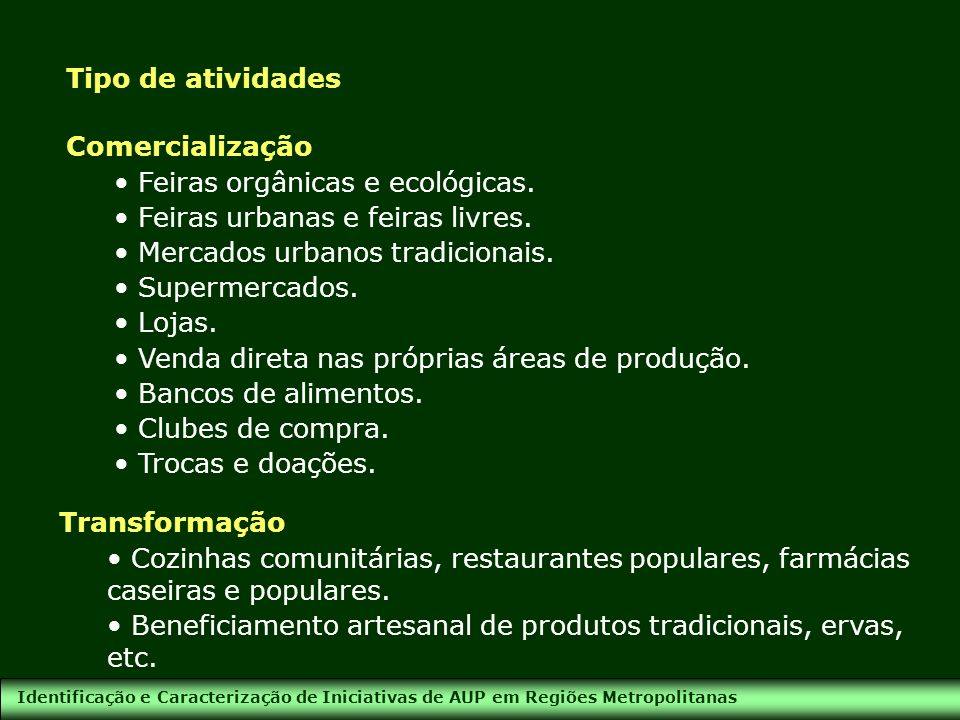 Feiras orgânicas e ecológicas. Feiras urbanas e feiras livres.