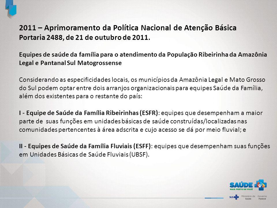 2011 – Aprimoramento da Política Nacional de Atenção Básica