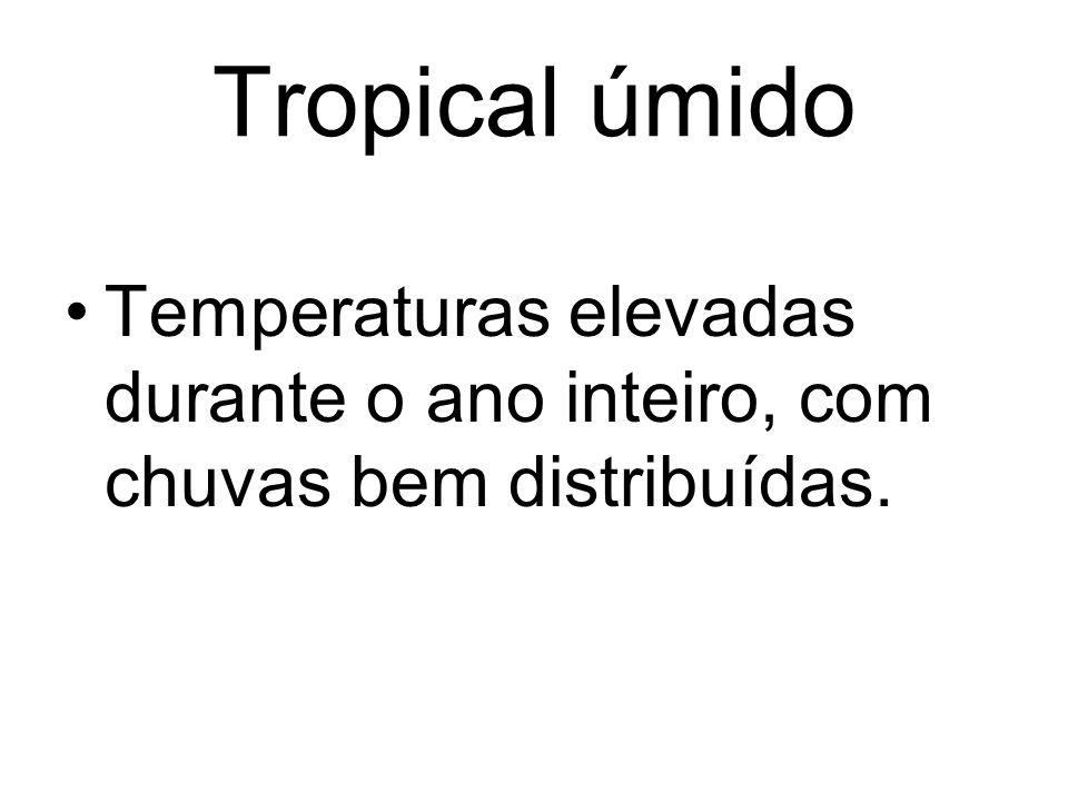 Tropical úmido Temperaturas elevadas durante o ano inteiro, com chuvas bem distribuídas.