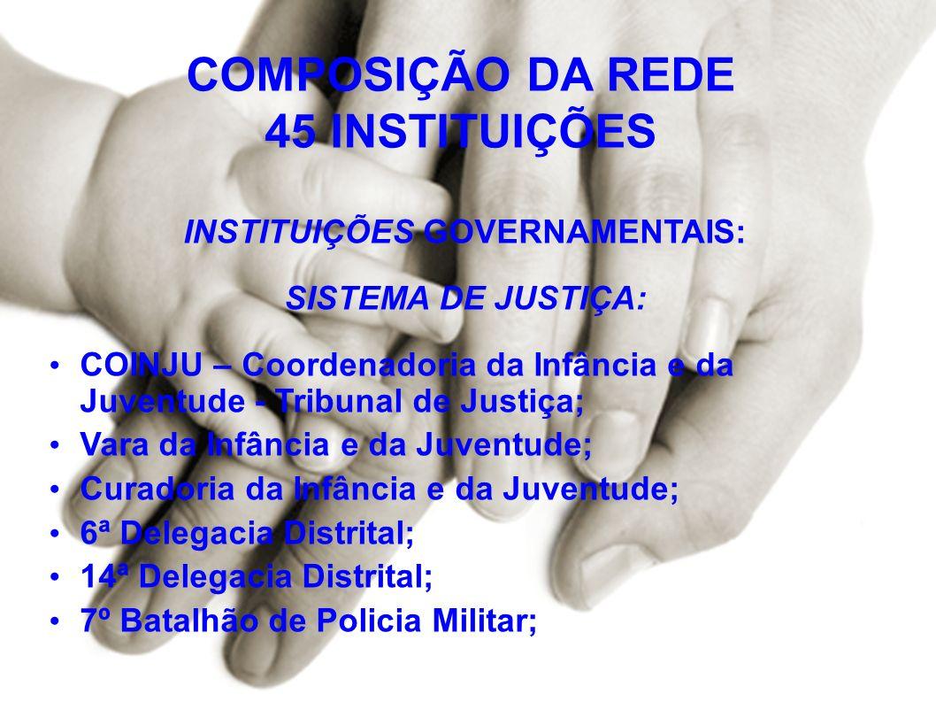 COMPOSIÇÃO DA REDE 45 INSTITUIÇÕES INSTITUIÇÕES GOVERNAMENTAIS:
