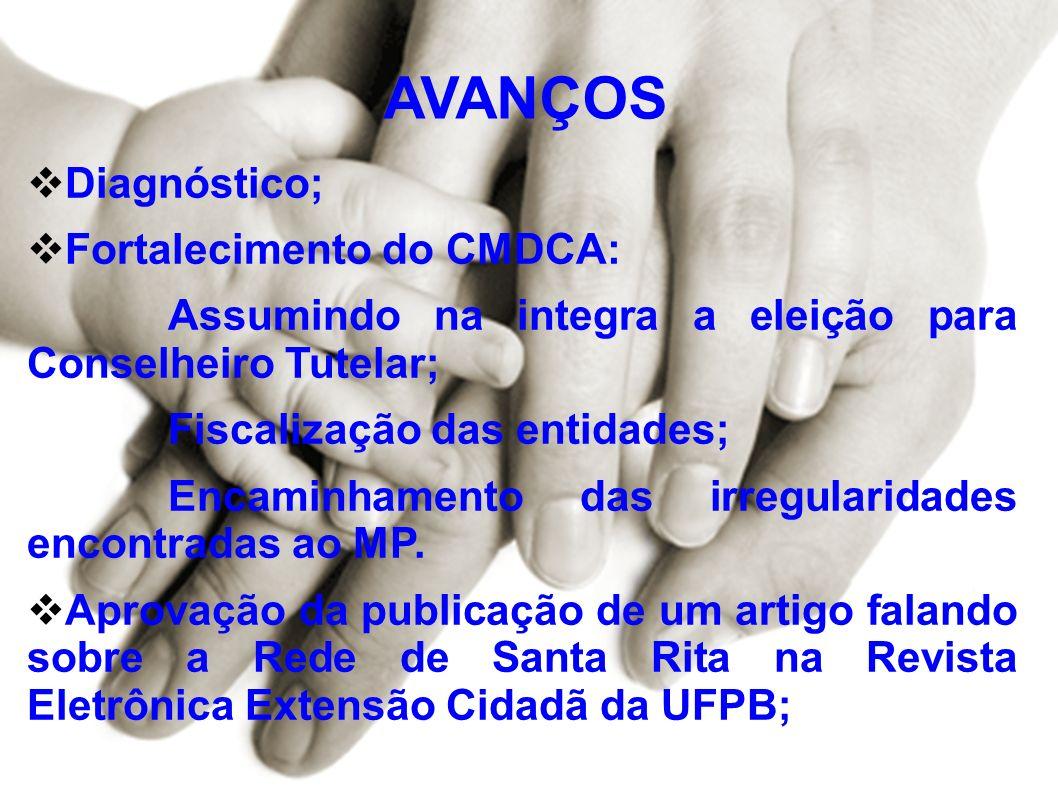 AVANÇOS Diagnóstico; Fortalecimento do CMDCA: