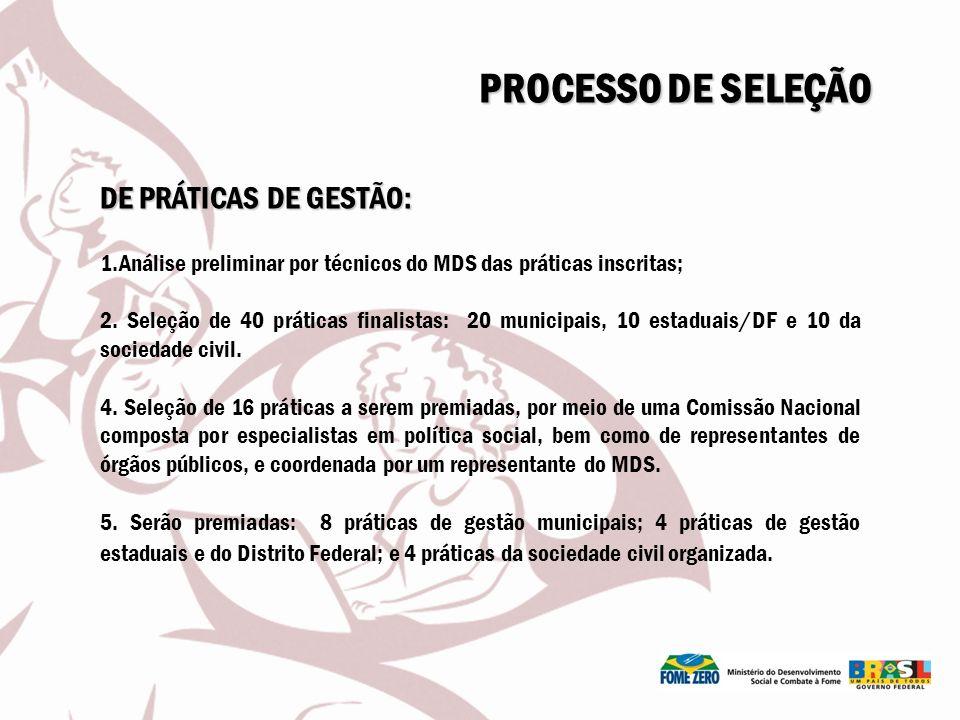 PROCESSO DE SELEÇÃO DE PRÁTICAS DE GESTÃO: