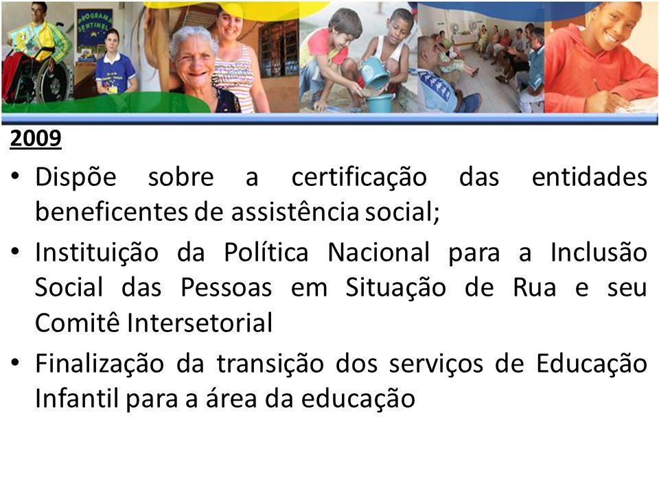 2009 Dispõe sobre a certificação das entidades beneficentes de assistência social;