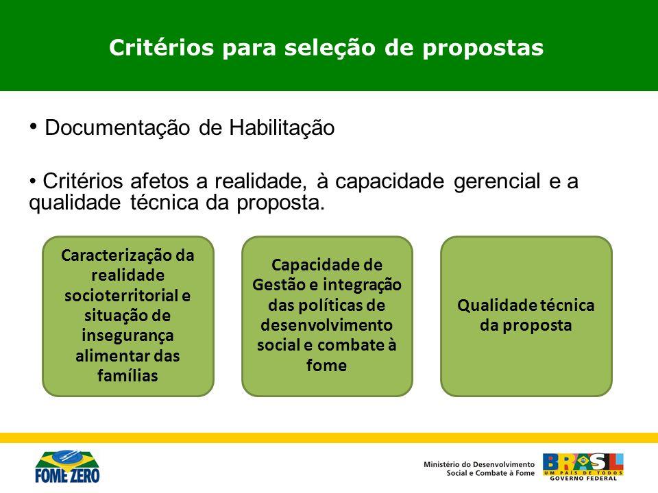Critérios para seleção de propostas