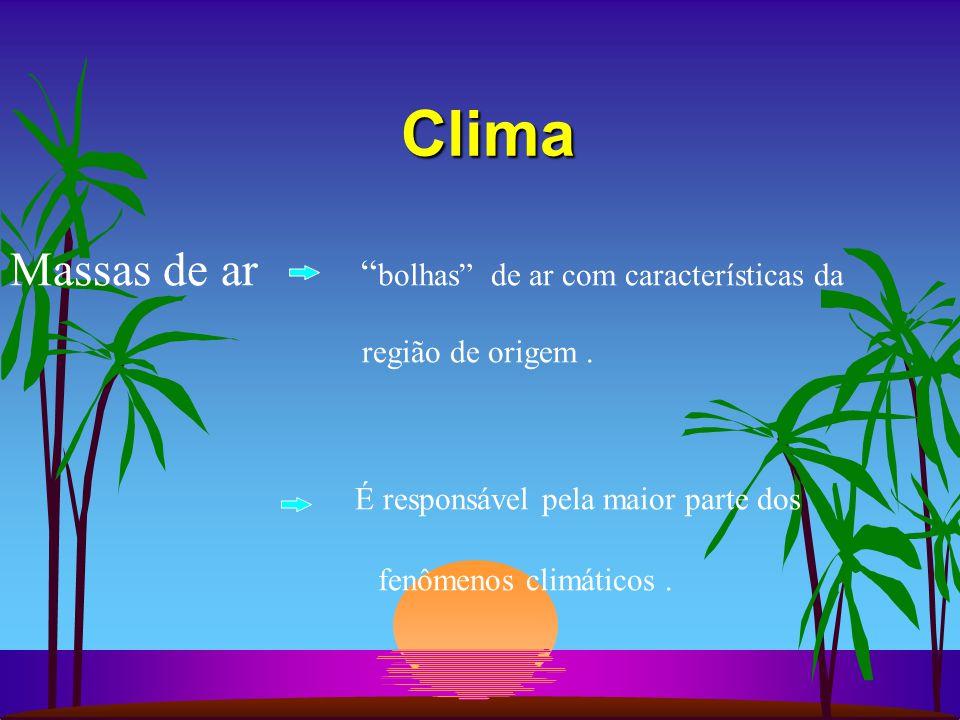 Clima Massas de ar bolhas de ar com características da