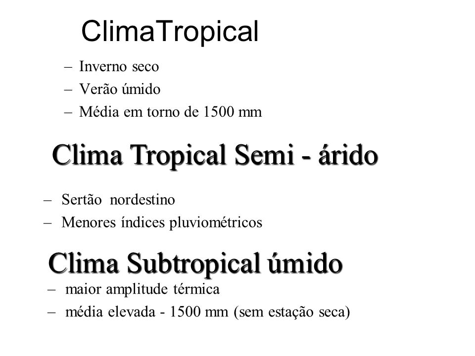 Clima Tropical Semi - árido
