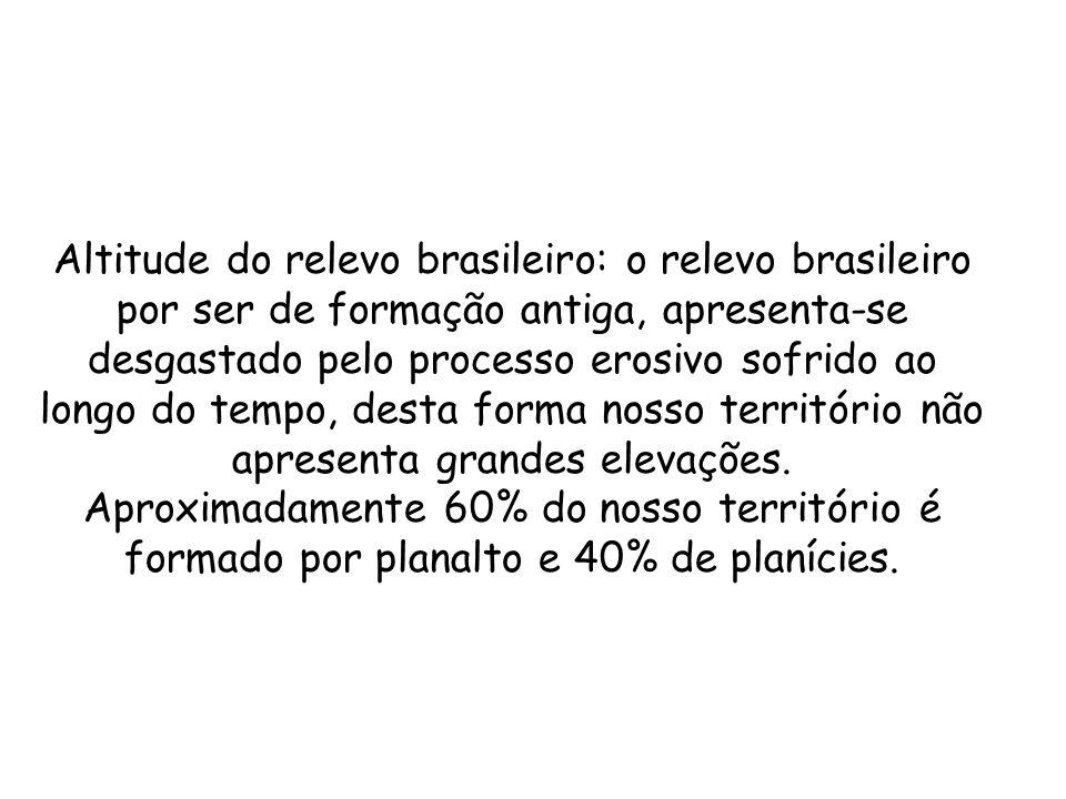 Altitude do relevo brasileiro: o relevo brasileiro por ser de formação antiga, apresenta-se desgastado pelo processo erosivo sofrido ao longo do tempo, desta forma nosso território não apresenta grandes elevações.