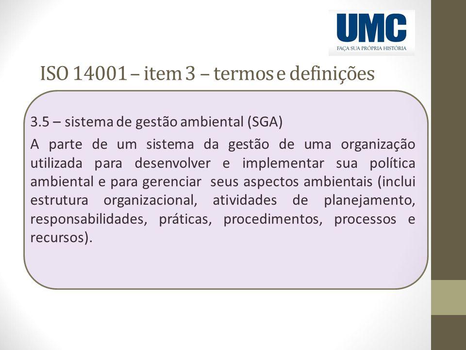 ISO 14001 – item 3 – termos e definições