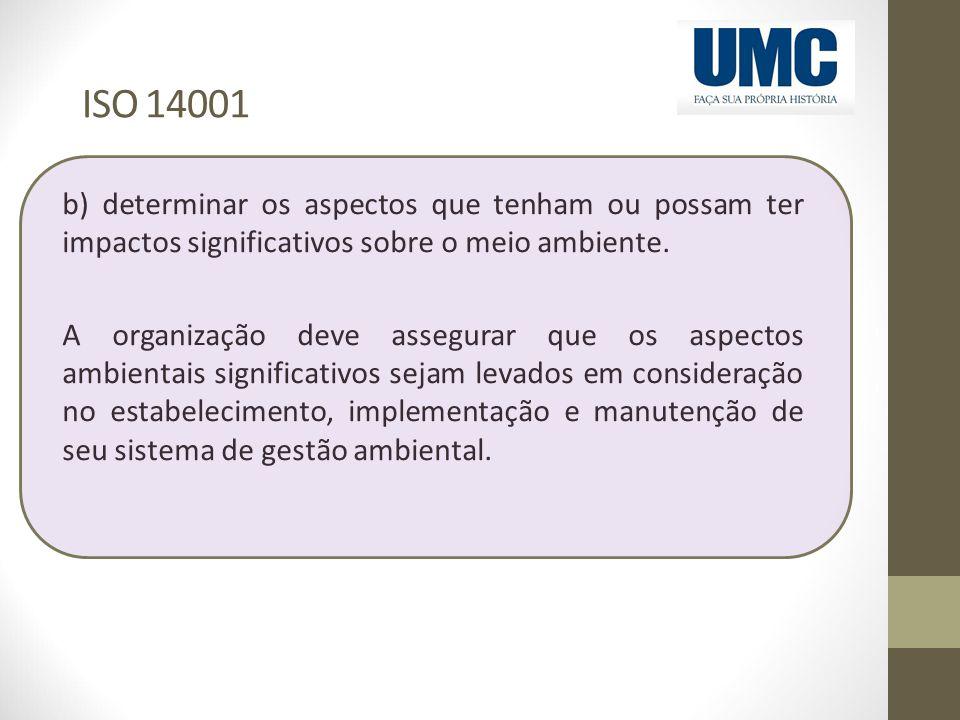 ISO 14001 b) determinar os aspectos que tenham ou possam ter impactos significativos sobre o meio ambiente.