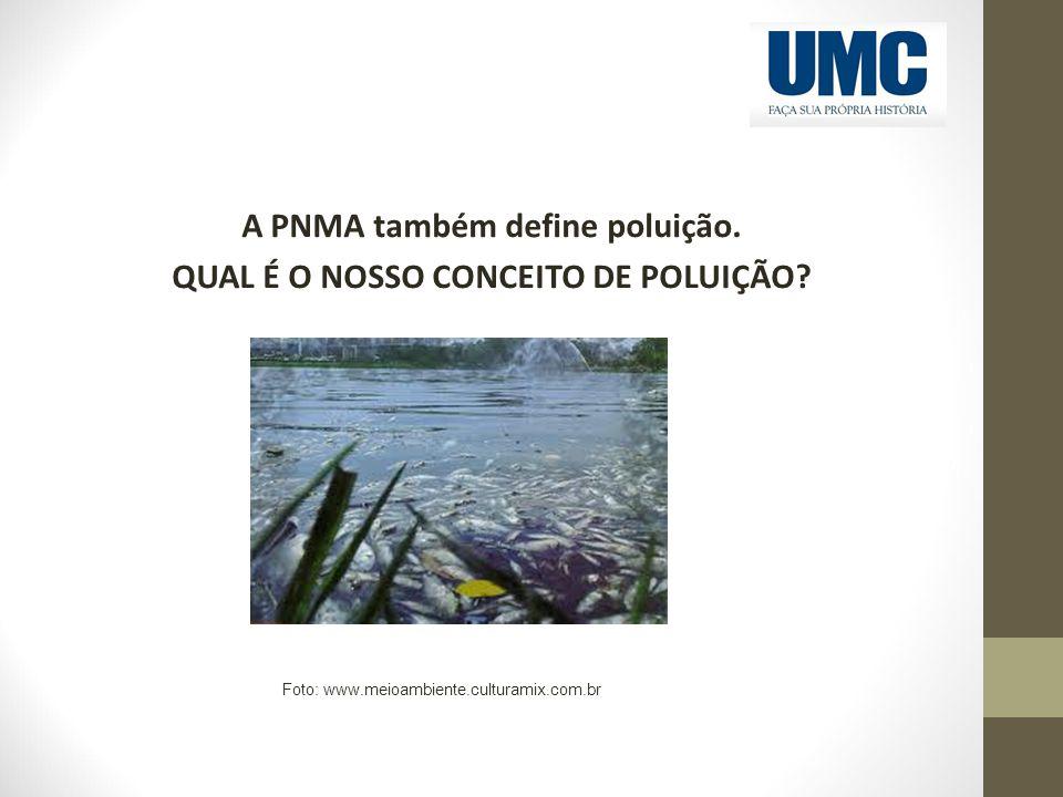A PNMA também define poluição. QUAL É O NOSSO CONCEITO DE POLUIÇÃO